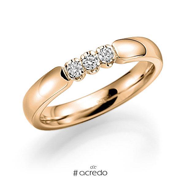 Memoire/Diamantring in Roségold 585 mit zus. 0,18 ct. Brillant tw, vs von acredo