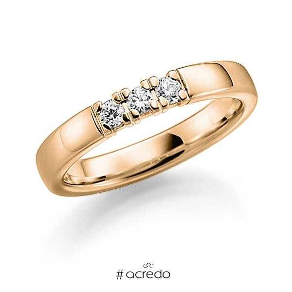 Memoire/Diamantring in Roségold 585 mit zus. 0,18 ct. Brillant tw, vs von acredo