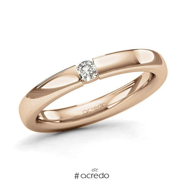 Memoire/Diamantring in Roségold 585 mit zus. 0,1 ct. Brillant tw, si von acredo