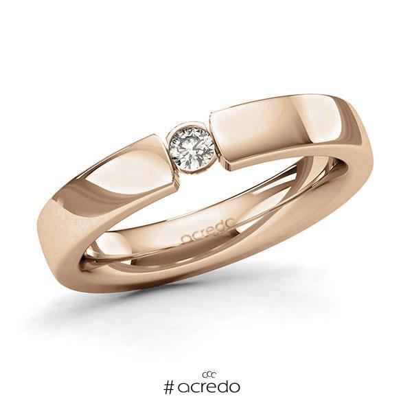 Memoire/Diamantring in Roségold 585 mit zus. 0,1 ct. Brillant tw, si von acredo