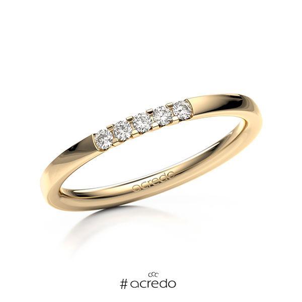 Memoire/Diamantring in Roségold 585 mit zus. 0,1 ct. Brillant tw, vs von acredo