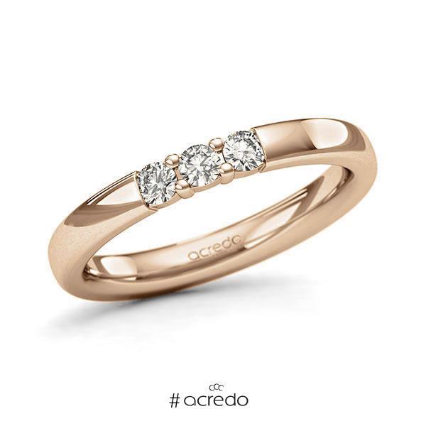 Memoire/Diamantring in Roségold 585 mit zus. 0,21 ct. Brillant tw, si von acredo