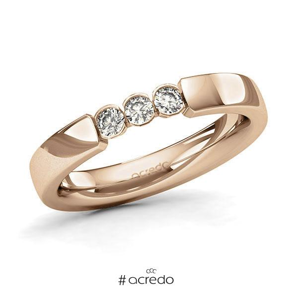 Memoire/Diamantring in Roségold 585 mit zus. 0,21 ct. Brillant tw, si von acredo