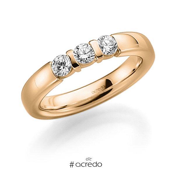 Memoire/Diamantring in Roségold 585 mit zus. 0,21 ct. Brillant tw, vs von acredo