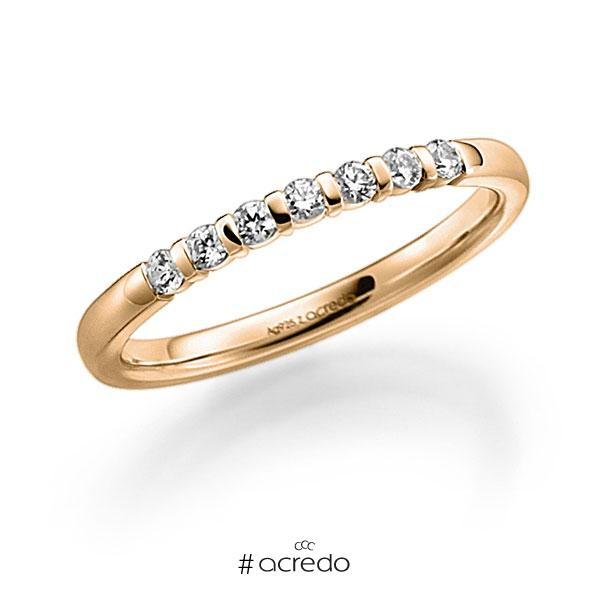 Memoire/Diamantring in Roségold 585 mit zus. 0,21 ct. Brillant tw, vs von acredo