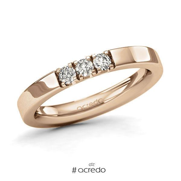 Memoire/Diamantring in Roségold 585 mit zus. 0,24 ct. Brillant tw, si von acredo