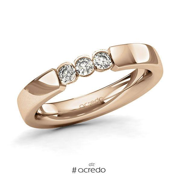 Memoire/Diamantring in Roségold 585 mit zus. 0,24 ct. Brillant tw, si von acredo
