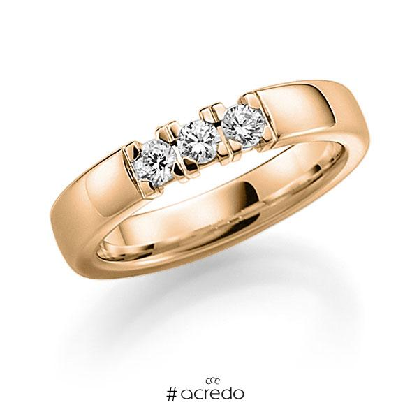 Memoire/Diamantring in Roségold 585 mit zus. 0,24 ct. Brillant tw, vs von acredo
