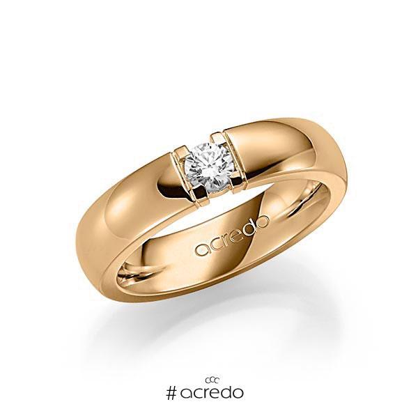 Memoire/Diamantring in Roségold 585 mit zus. 0,25 ct. Brillant tw, vs von acredo