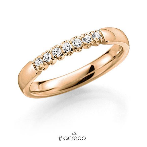Memoire/Diamantring in Roségold 585 mit zus. 0,28 ct. Brillant tw, vs von acredo