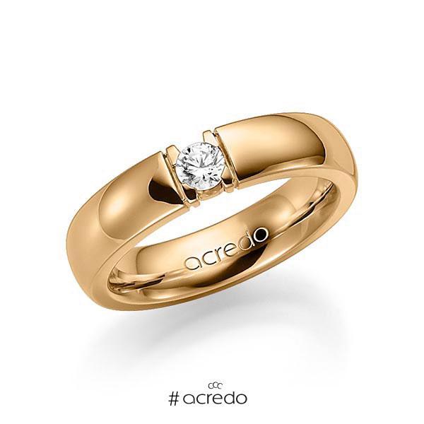 Memoire/Diamantring in Roségold 585 mit zus. 0,2 ct. Brillant tw, vs von acredo