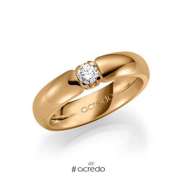 Memoire/Diamantring in Roségold 585 mit zus. 0,2 ct. Brillant tw, vs von acredo