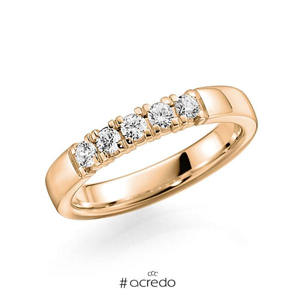 Memoire/Diamantring in Roségold 585 mit zus. 0,35 ct. Brillant tw, vs von acredo