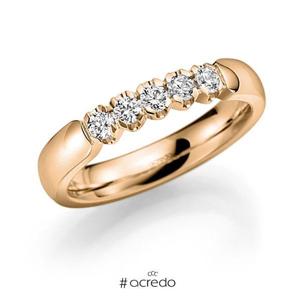 Memoire/Diamantring in Roségold 585 mit zus. 0,35 ct. Brillant tw, vs von acredo