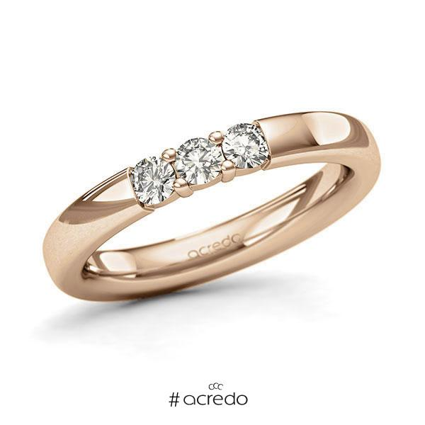 Memoire/Diamantring in Roségold 585 mit zus. 0,3 ct. Brillant tw, si von acredo