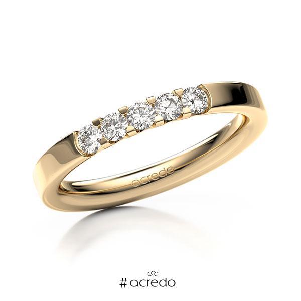 Memoire/Diamantring in Roségold 585 mit zus. 0,3 ct. Brillant tw, vs von acredo