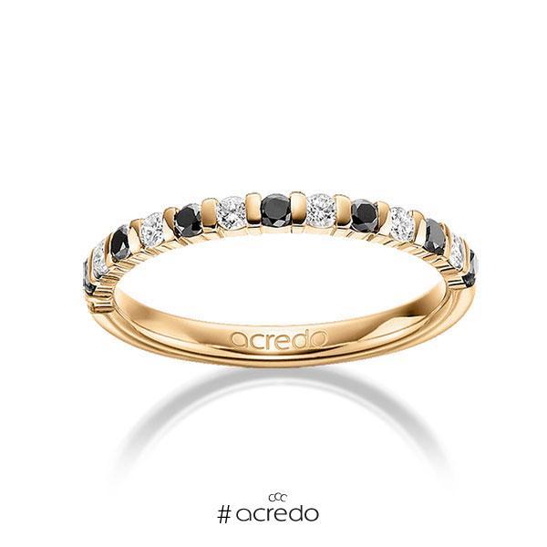 Memoire/Diamantring in Roségold 585 mit zus. 0,42 ct. Brillant tw, si schwarz von acredo