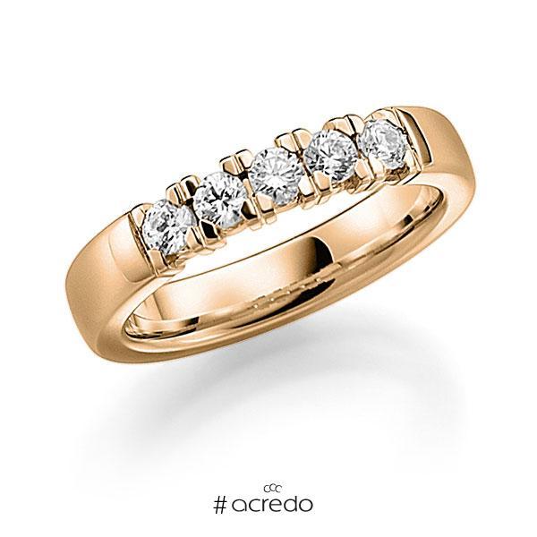 Memoire/Diamantring in Roségold 585 mit zus. 0,45 ct. Brillant tw, vs von acredo