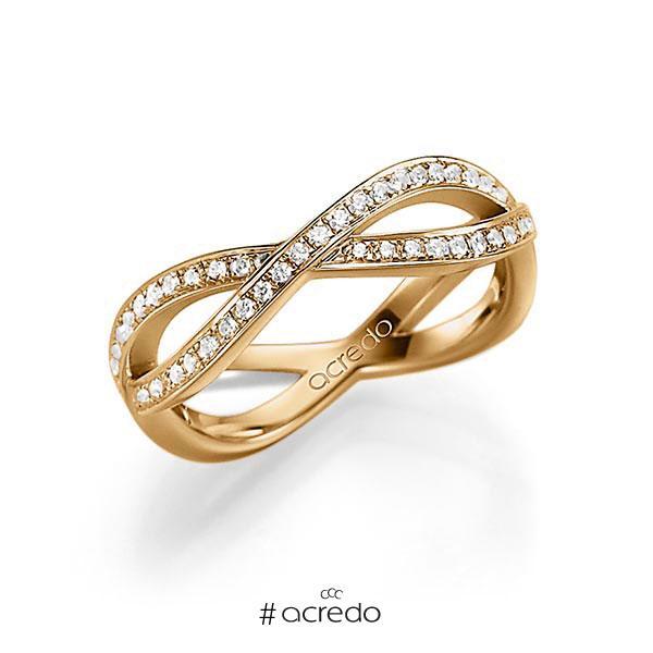 Memoire/Diamantring in Roségold 585 mit zus. 0,53 ct. tw, vs von acredo