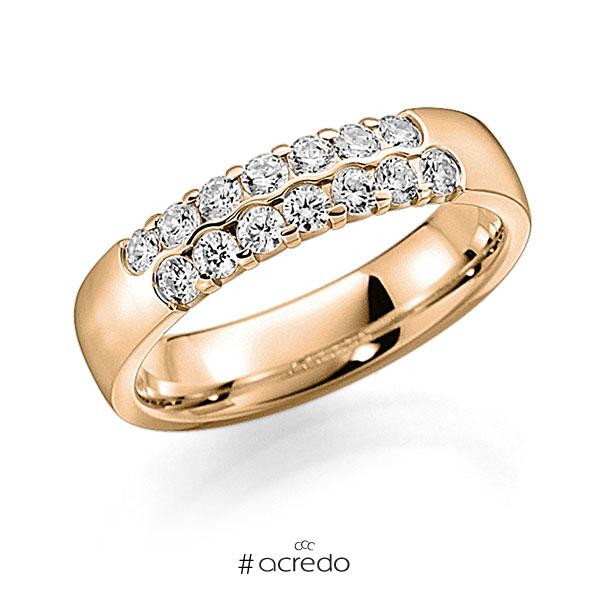 Memoire/Diamantring in Roségold 585 mit zus. 0,56 ct. Brillant tw, vs von acredo