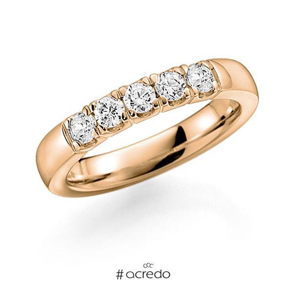 Memoire/Diamantring in Roségold 585 mit zus. 0,5 ct. Brillant tw, vs von acredo