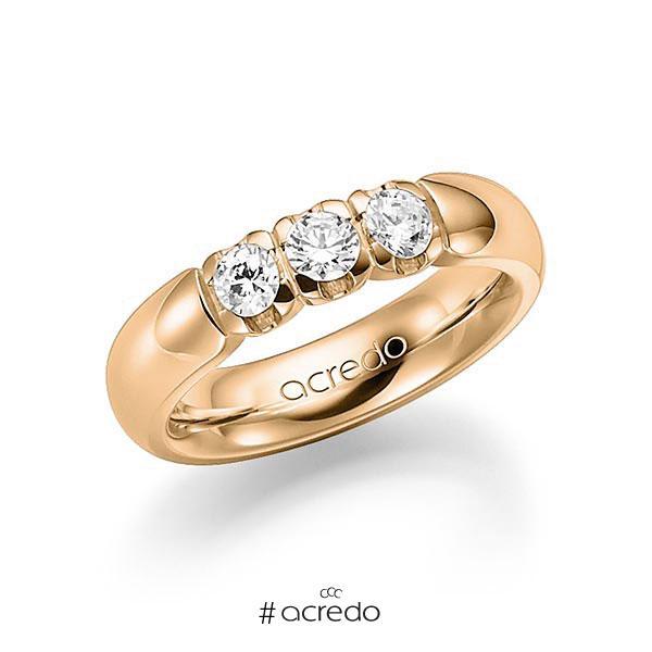 Memoire/Diamantring in Roségold 585 mit zus. 0,6 ct. Brillant tw, vs von acredo