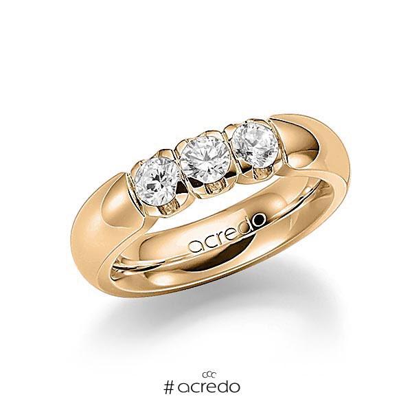 Memoire/Diamantring in Roségold 585 mit zus. 0,75 ct. Brillant tw, vs von acredo