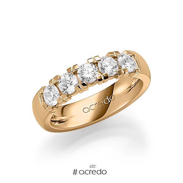 Memoire/Diamantring in Roségold 585 mit zus. 1,25 ct. Brillant tw, vs von acredo