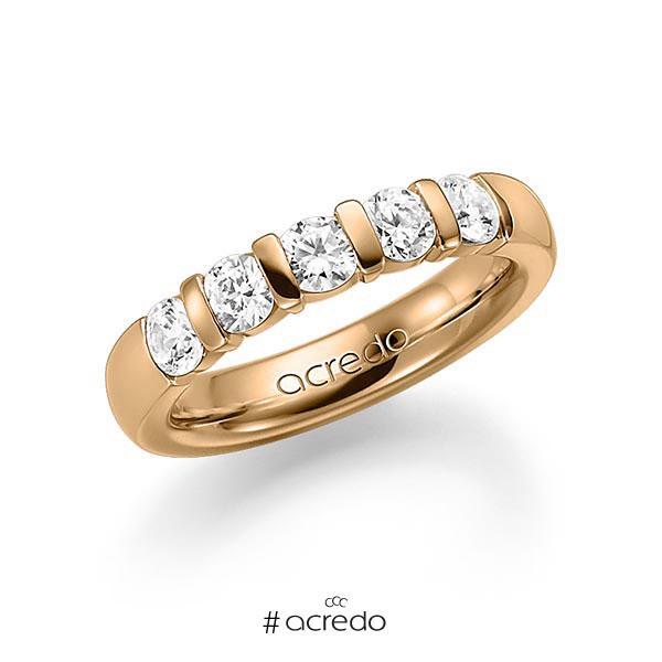 Memoire/Diamantring in Roségold 585 mit zus. 1 ct. Brillant tw, vs von acredo