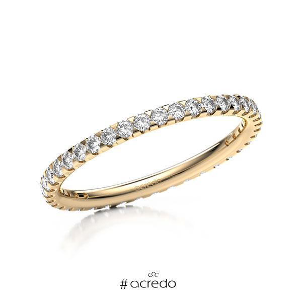 Memoire/Diamantring in Roségold 585 vollausgefasst mit zus. 0,585 ct. Brillant tw, si von acredo
