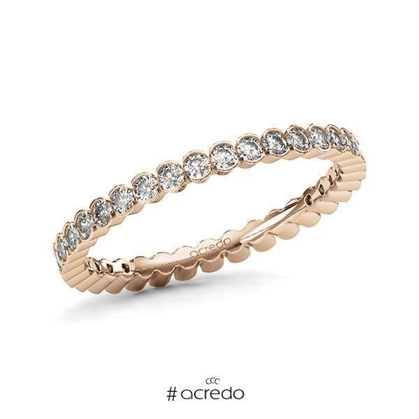 Memoire/Diamantring in Roségold 585 vollausgefasst mit zus. 0,74 ct. Brillant tw, si von acredo