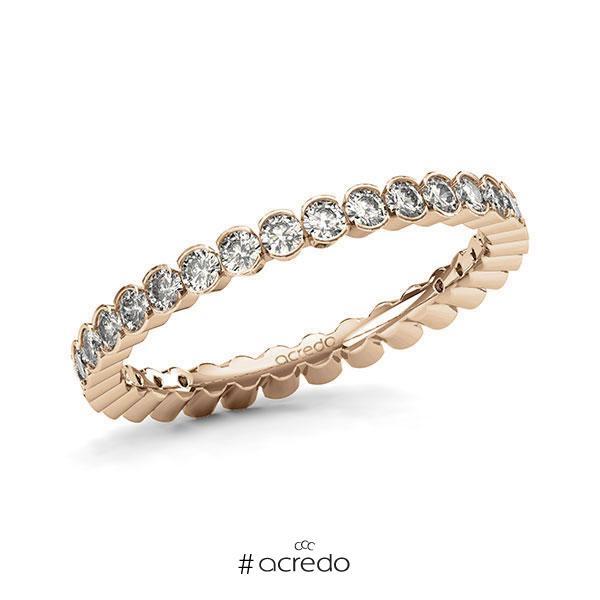 Memoire/Diamantring in Roségold 585 vollausgefasst mit zus. 1,02 ct. Brillant tw, si von acredo