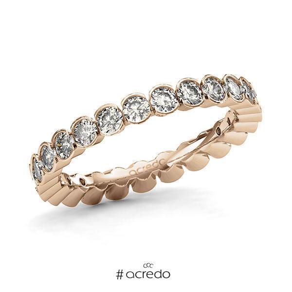 Memoire/Diamantring in Roségold 585 vollausgefasst mit zus. 1,5 ct. Brillant tw, si von acredo
