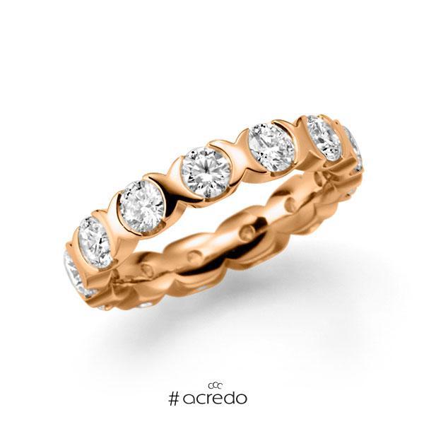 Memoire/Diamantring in Roségold 585 vollausgefasst mit zus. 3,25 ct. Brillant tw, vs von acredo
