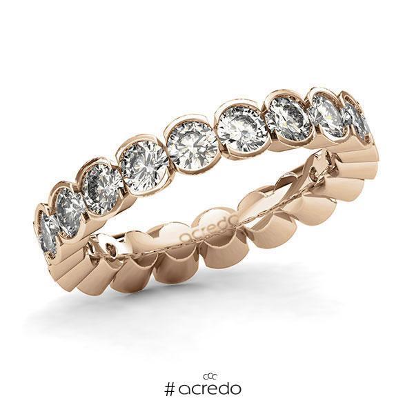 Memoire/Diamantring in Roségold 585 vollausgefasst mit zus. 3,3 ct. Brillant tw, si von acredo