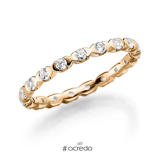 Memoire/Diamantring in Roségold 750 vollausgefasst mit zus. 0,57 ct. Brillant tw, vs von acredo