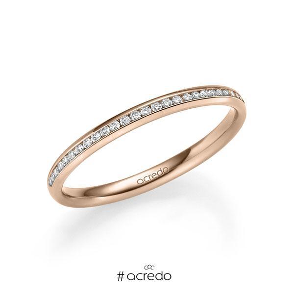 Memoire/Diamantring in Rotgold 585 halbausgefasst mit zus. 0,14 ct. Brillant tw, si von acredo