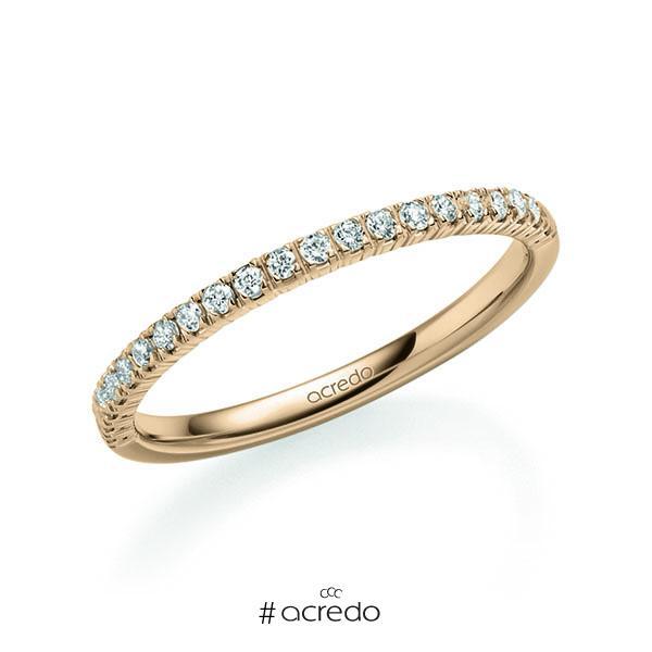 Memoire/Diamantring in Rotgold 585 halbausgefasst mit zus. 0,22 ct. Brillant tw, vs von acredo