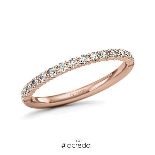 Memoire/Diamantring in Rotgold 585 halbausgefasst mit zus. 0,32 ct. Brillant tw, si von acredo