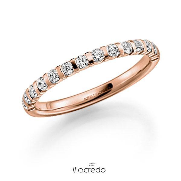 Memoire/Diamantring in Rotgold 585 halbausgefasst mit zus. 0,42 ct. Brillant tw, vs von acredo