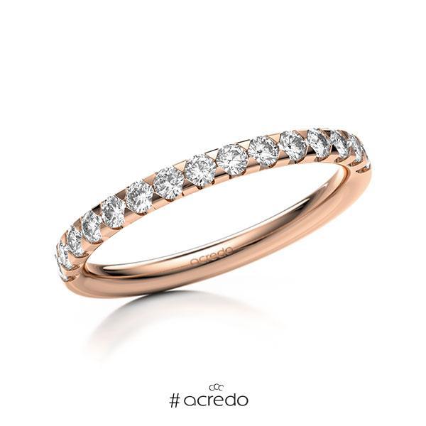 Memoire/Diamantring in Rotgold 585 halbausgefasst mit zus. 0,45 ct. Brillant tw, si von acredo