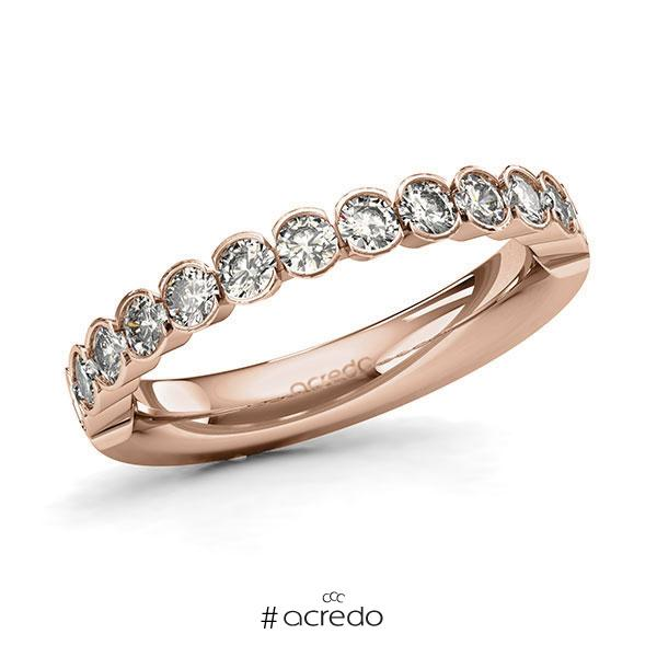 Memoire/Diamantring in Rotgold 585 halbausgefasst mit zus. 0,78 ct. Brillant tw, si von acredo