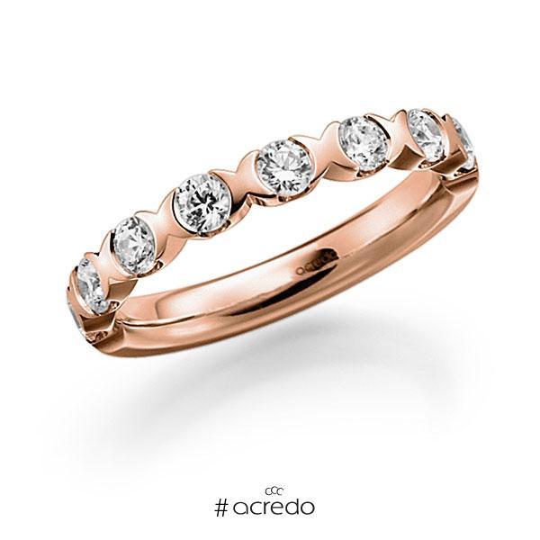 Memoire/Diamantring in Rotgold 585 halbausgefasst mit zus. 0,8 ct. Brillant tw, vs von acredo