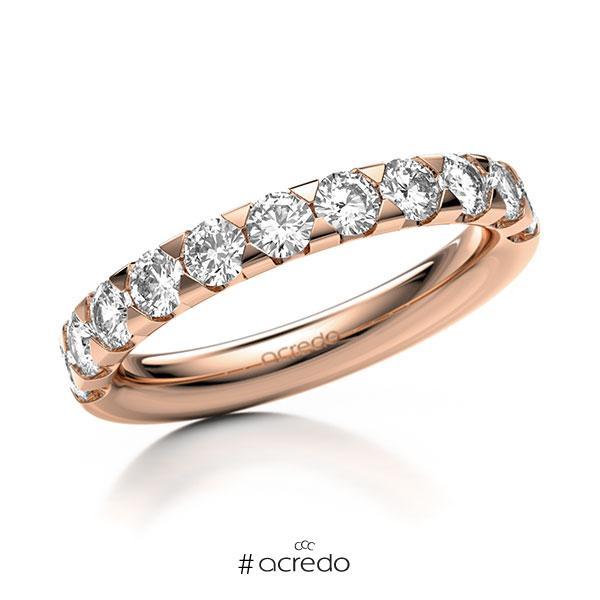 Memoire/Diamantring in Rotgold 585 halbausgefasst mit zus. 1,1 ct. Brillant tw, si von acredo
