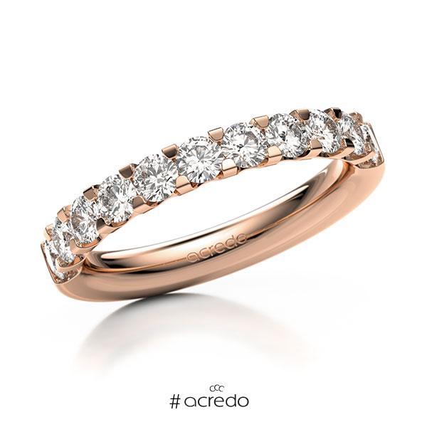 Memoire/Diamantring in Rotgold 585 halbausgefasst mit zus. 1,1 ct. Brillant tw, vs von acredo