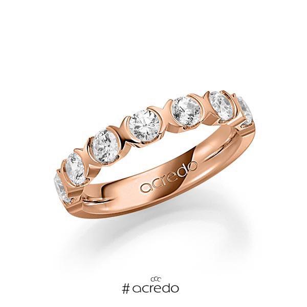 Memoire/Diamantring in Rotgold 585 halbausgefasst mit zus. 1,2 ct. Brillant tw, vs von acredo