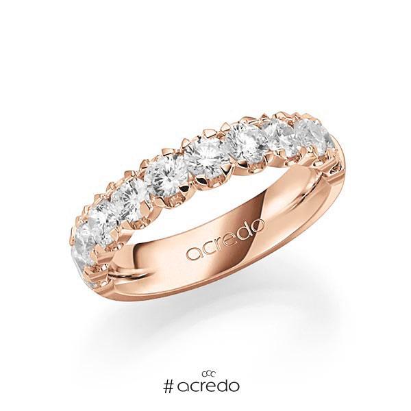 Memoire/Diamantring in Rotgold 585 halbausgefasst mit zus. 1,5 ct. Brillant tw, vs von acredo