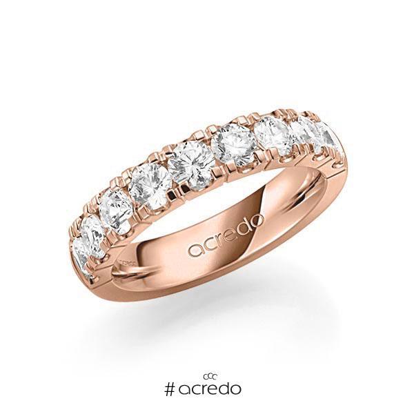 Memoire/Diamantring in Rotgold 585 halbausgefasst mit zus. 2 ct. Brillant tw, vs von acredo