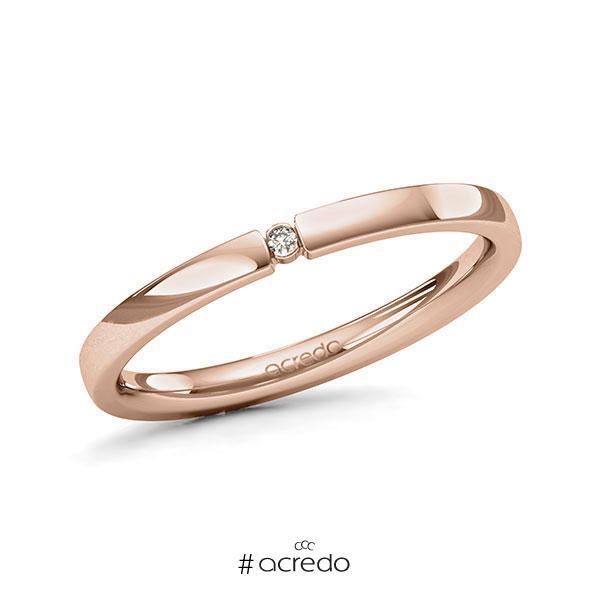 Memoire/Diamantring in Rotgold 585 mit zus. 0,01 ct. Brillant tw, si von acredo