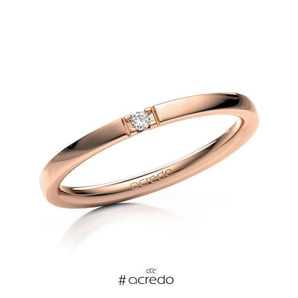 Memoire/Diamantring in Rotgold 585 mit zus. 0,02 ct. Brillant tw, vs von acredo
